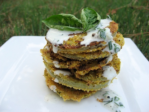 Fried Green Tomatoes with Crème Fraîche Drizzle Recipe , American Recipes, Vegetables Recipes, Side Dish Recipes